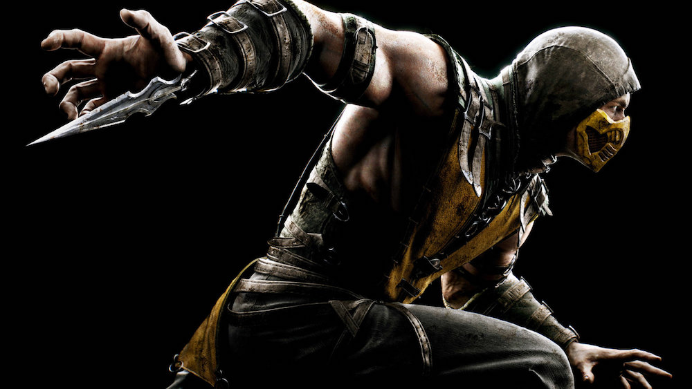 Scorpion from Mortal Kombat X on a black background.