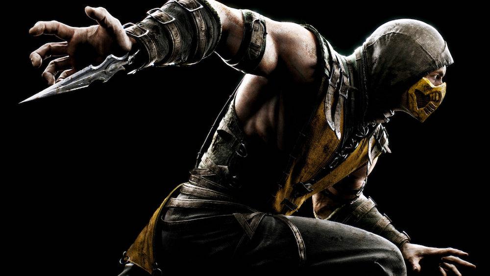 Scorpion from Mortal Kombat X on a black background.
