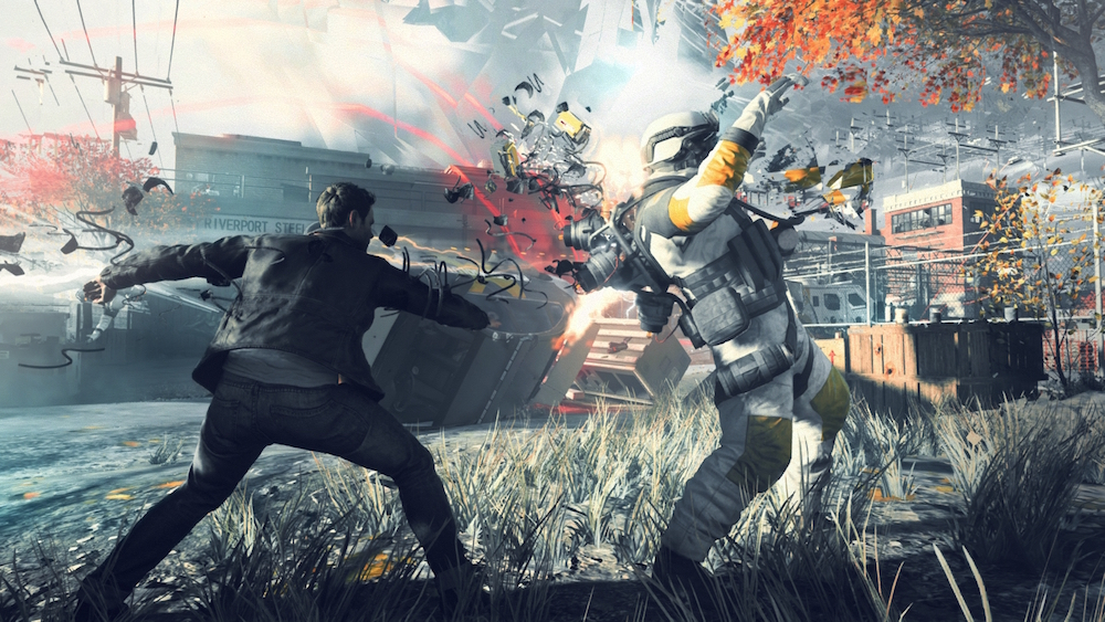 The hero of the Xbox One exclusive game Quantum Break fights against an enemy soldier.