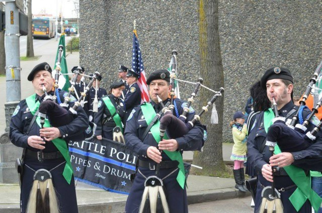 men playing bagpipes at the St. Patrick's Day parade in Seattle