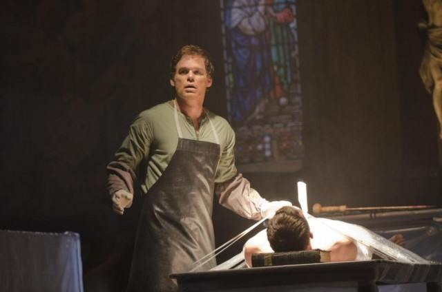 Dexter Morgan (Michael C. Hall) looks shocked as he stands over the bodies of one of his victims in a scene from 'Dexter'