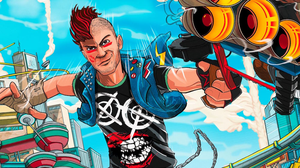 A comic book-style drawing of a punk character aiming a multi-barreled gun at the viewer.