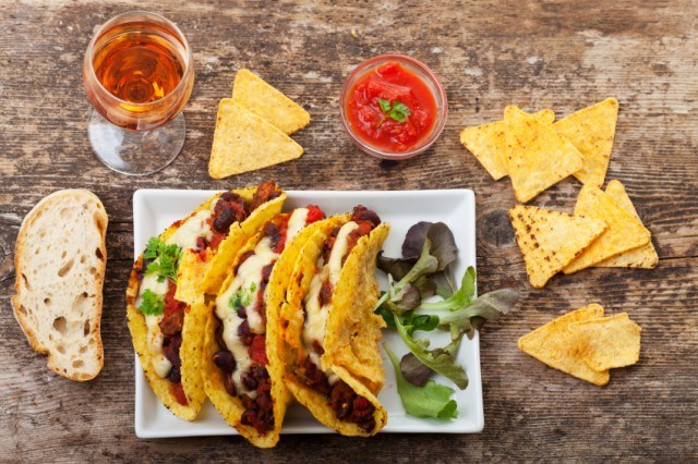 tacos with chips and salsa