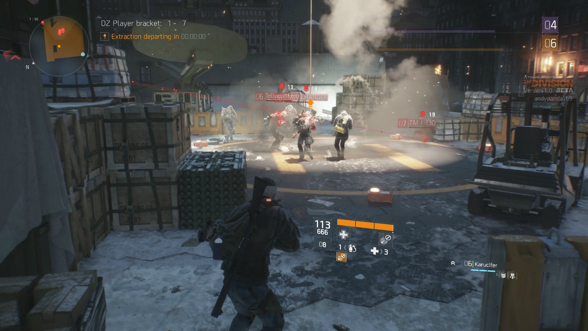 A Division agent watches other agents in the Dark Zone
