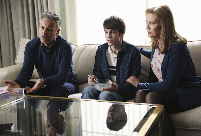 "THE FAMILY - ""Pilot"" - A family is shaken to the core when a politician's presumed dead son suddenly returns. After disappearing a decade earlier, Adam Warren's homecoming to Red Pines, ME, is initially met with astonishment and joy, but suspicions soon begin to emerge. Is he really who he says he is? The boy's shocking reappearance forces the entire family to re-examine who they are and unearths long-buried secrets, betrayals and heartache, in the riveting new thriller ""The Family,"" which will debut with a special premiere, on THURSDAY, MARCH 3 (9:00-10:00 p.m. EST), on the ABC Television Network. (ABC/Jack Rowand) RUPERT GRAVES, LIAM JAMES, JOAN ALLEN"