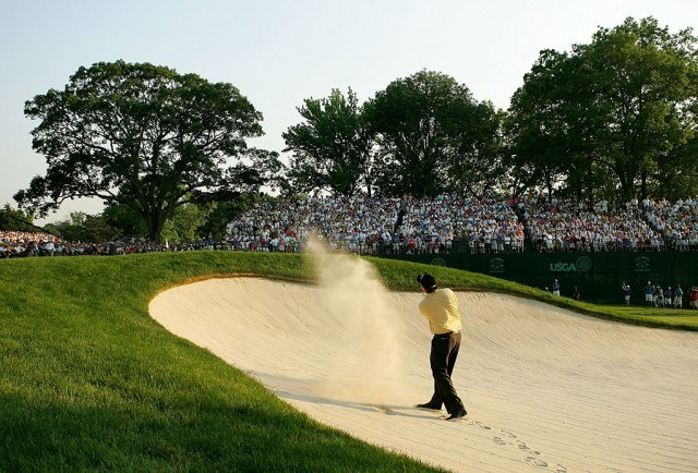 Phil Mickelson playing a bunker shot at Winged Foot Golf Club