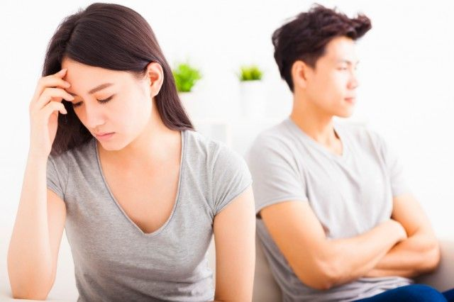 young couple not talking after fighting