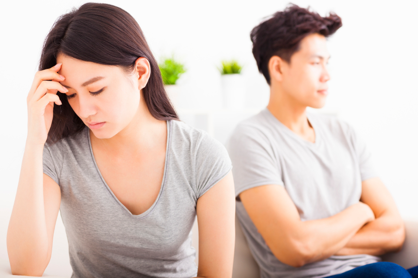 young couple not speaking after an argument
