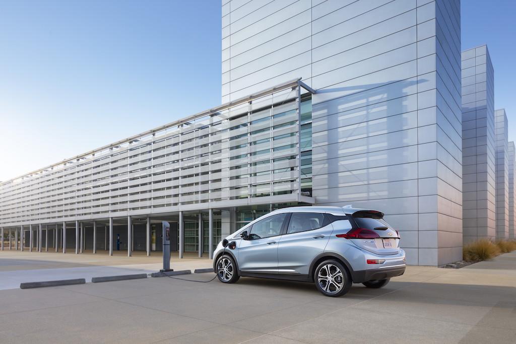 Chevrolet Bolt at a charging station.