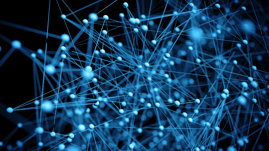 close up of abstract network molecules