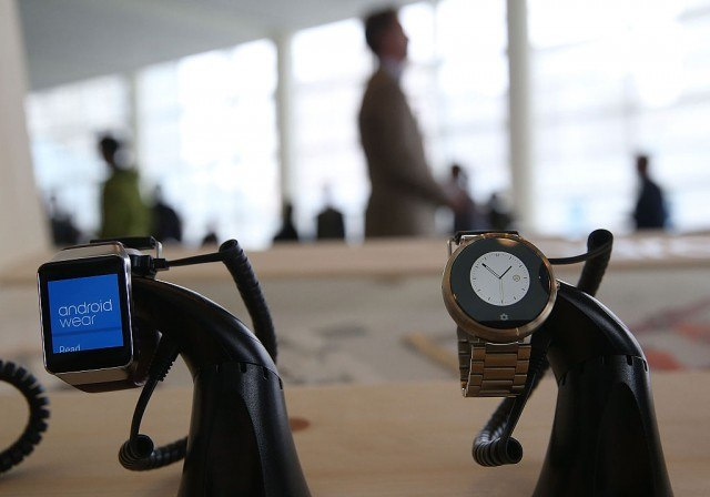 two Android Wear Smartwatches on display