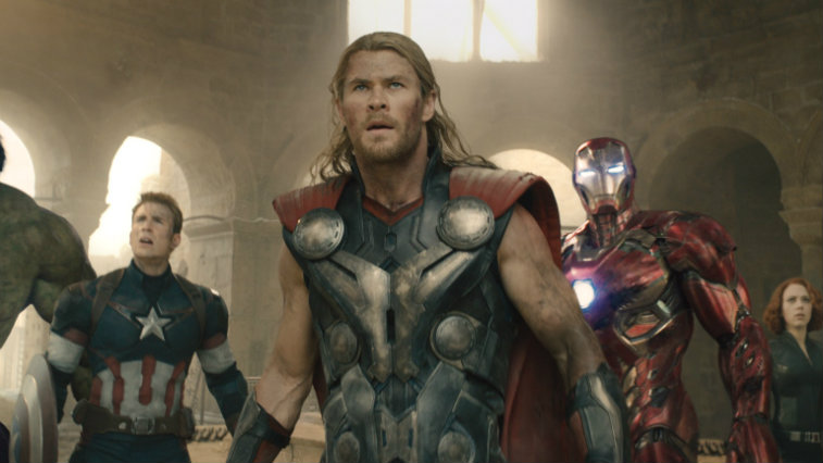 Captain America, Thor, and Iron Man in Avengers: Age of Ultron