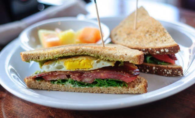 Close up of BLT Sandwich with Fried Eggs