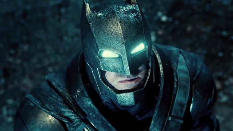 Ben Affleck's Batman stares up at the sky in Batman v Superman: Dawn of Justice