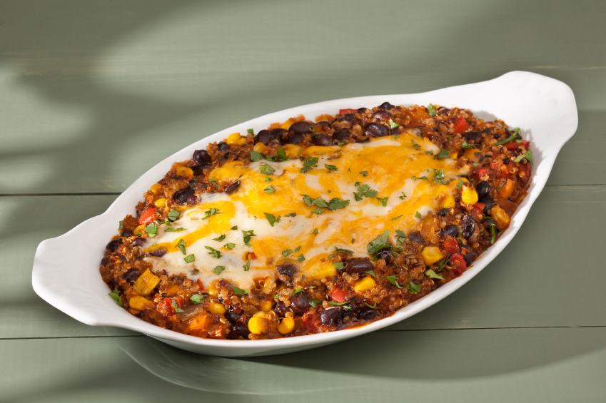 Black Bean and Quinoa Enchilada in a white tray