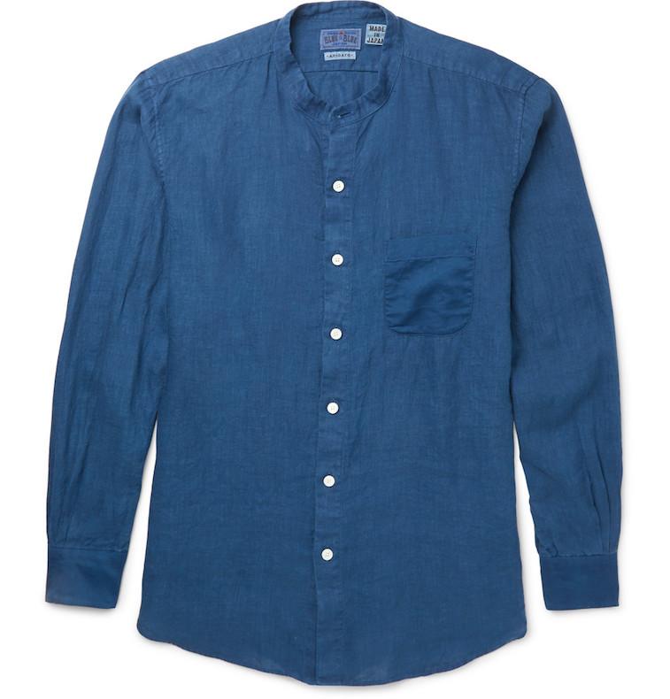 Blue Blue Japan band-collar indigo shirt