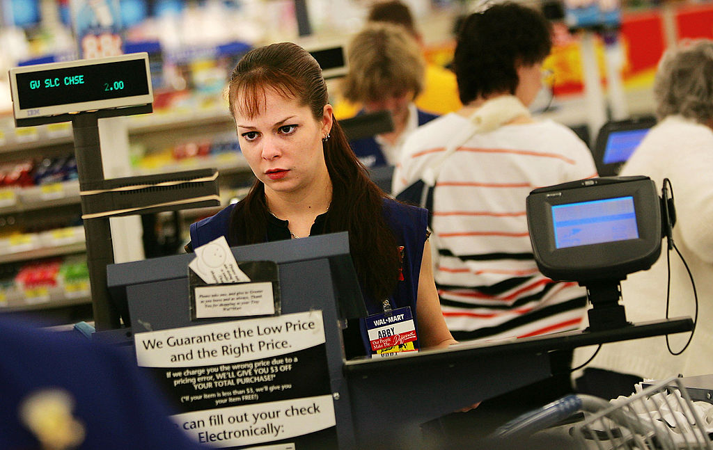 Cashier at Wal-Mart checkout