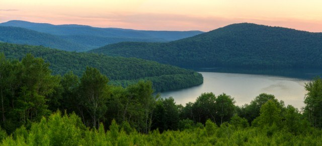 view of the Pepacton Reservoir and Catskills Mountains