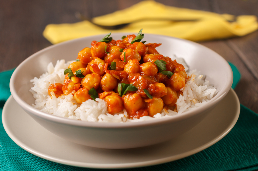 Chickpea curry with rice in a bowl