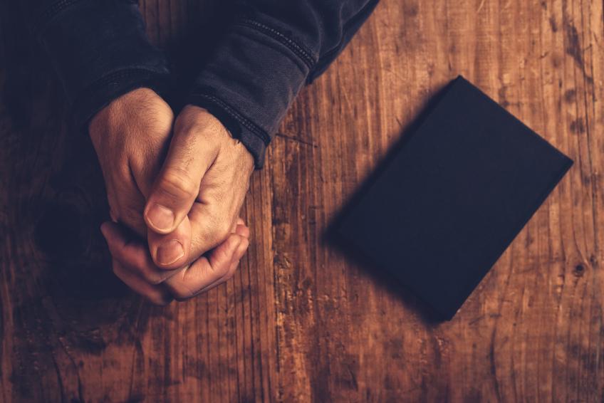 Christian man praying