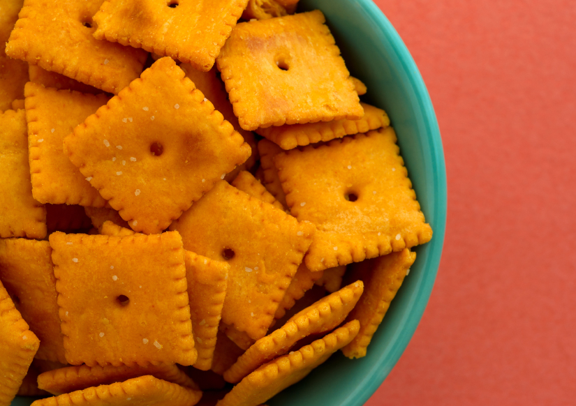bowl of cheese crackers