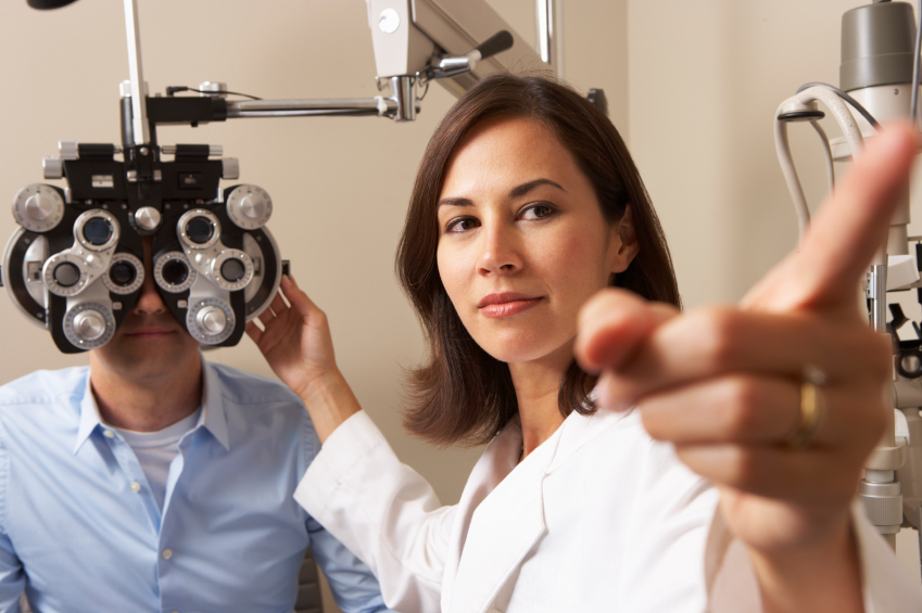 man getting an eye exam at the optometrist's office