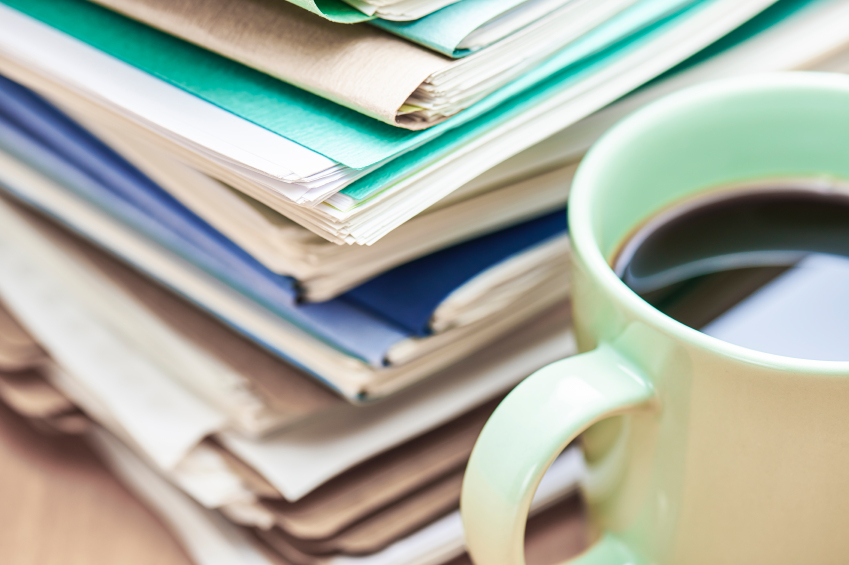 Files and a cup of coffee