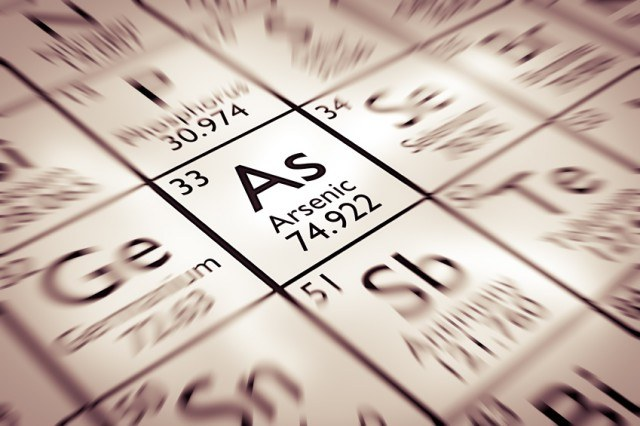 Arsenic Chemical Element focused on a periodic table