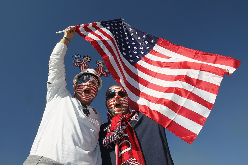 fans with American flag