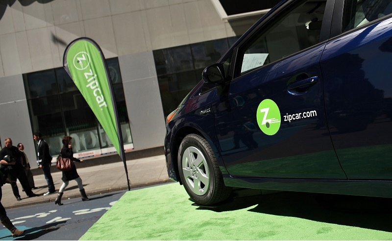 A Zipcar is displayed during a promotion of the short term car rental company