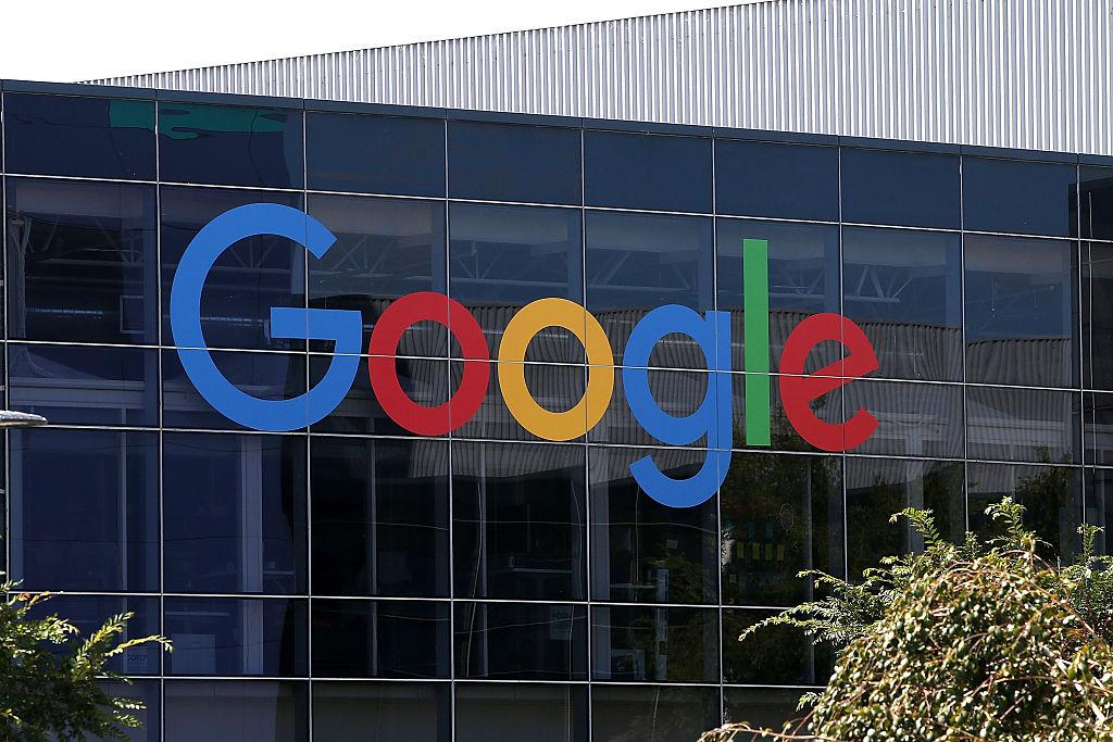 Google logo outside the building