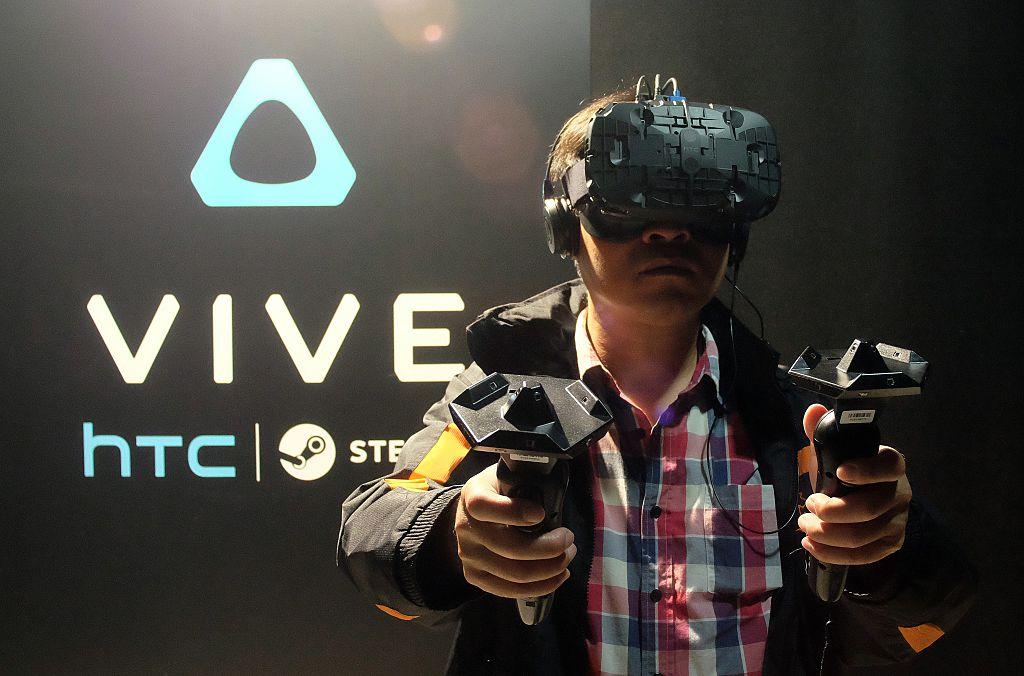 man wearing HTC Vive
