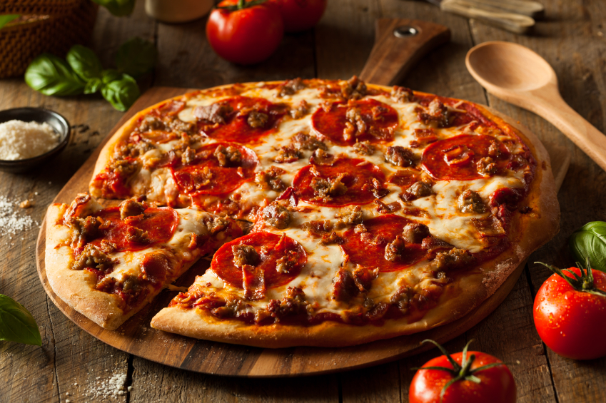 meat lovers pizza with sausage and pepperoni