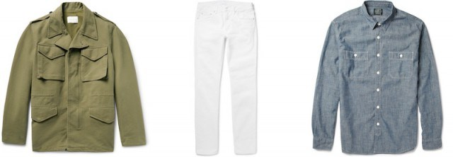 How to wear white jeans - jacket, jeans, and shirt via Mr Porter