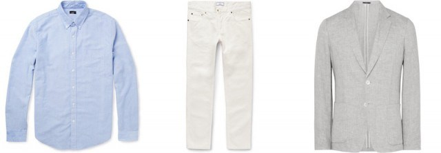 How to wear white jeans - jeans, oxford, and blazer from Mr Porter