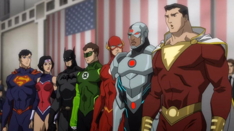 The animated Justice League roster stand in a line