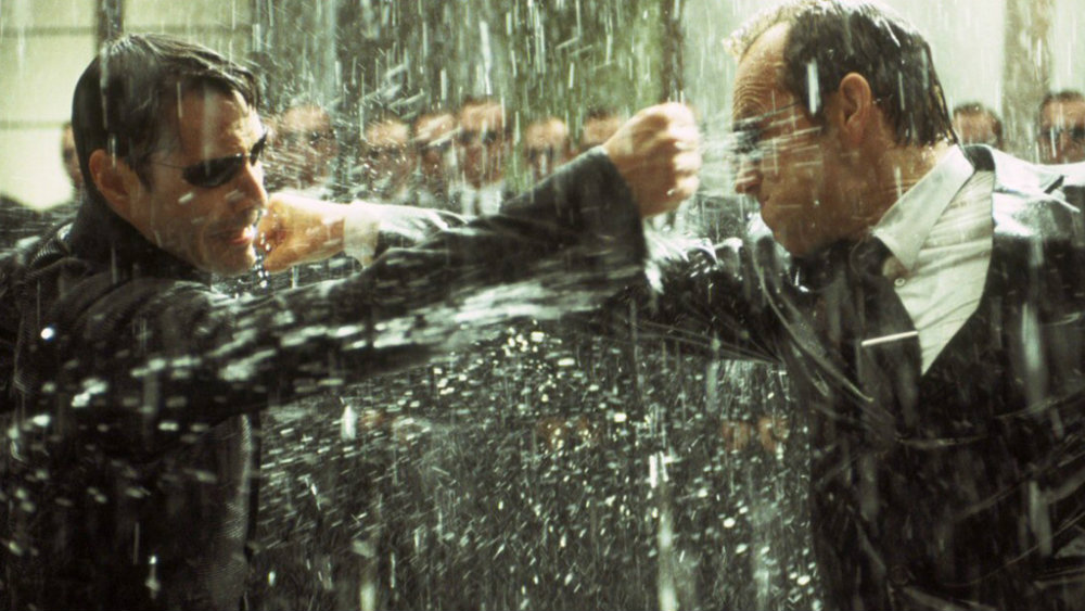 Keanu Reeves and Hugo Weaving in The Matrix Revolutions