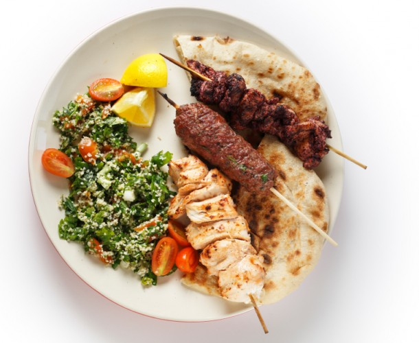 Kebab tabouleh bbq in a white plate