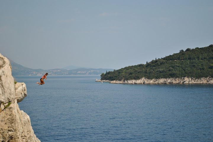 cliff-jumping into the Mediterranean Sea