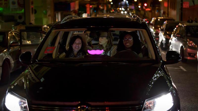Lyft driver and passengers