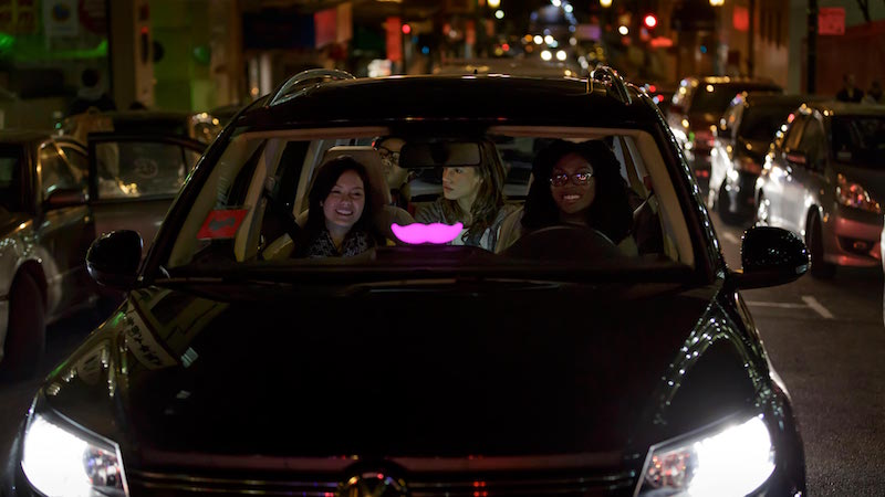Lyft driver and passengers
