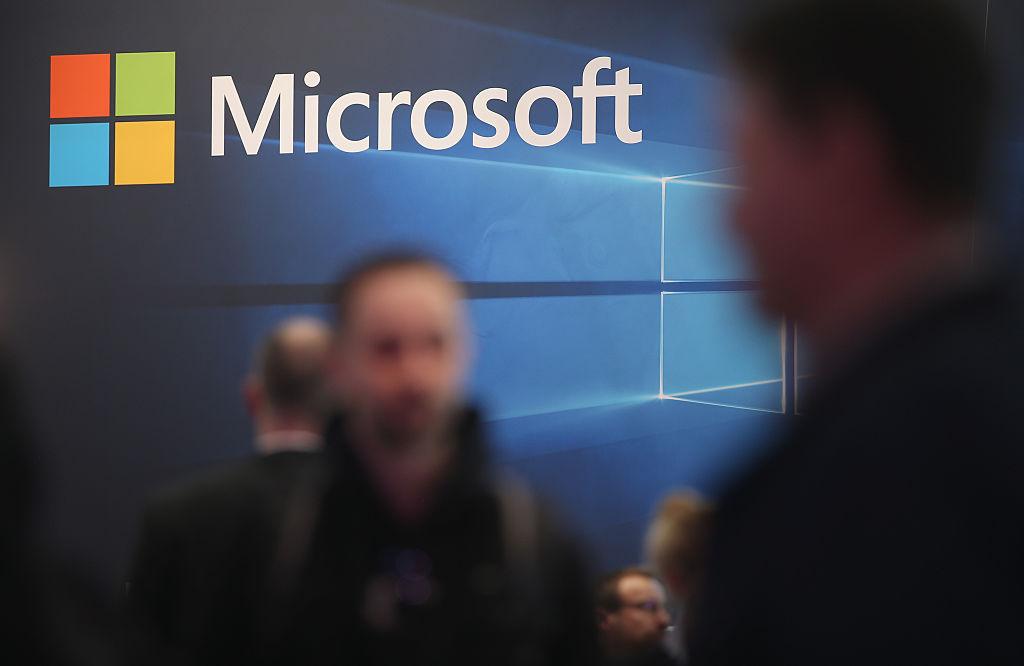 The Microsoft logo in a lobby