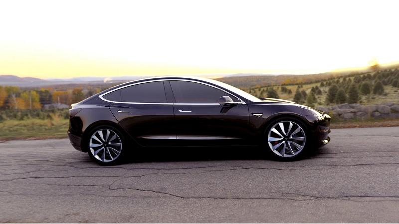 Profile of black Tesla Model 3