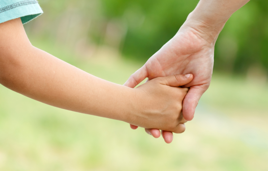 a child holding an adult's hand