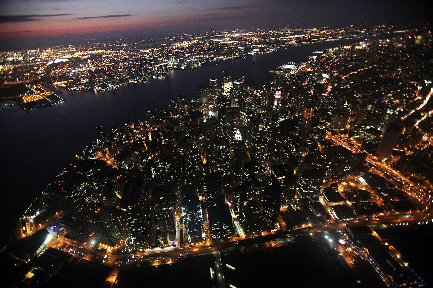 Aerial photo of New York City at night