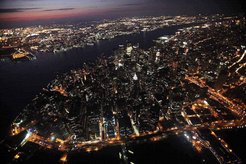 Aerial photo of New York City at night
