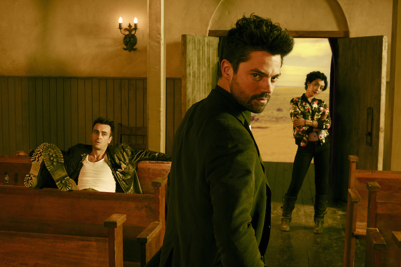 Joseph Gilgun as Cassidy, Dominic Cooper as Jesse Custer, Ruth Negga as Tulip O'Hare; group - Preacher _ Season 1, Gallery - Photo Credit: Matthias Clamer/AMC