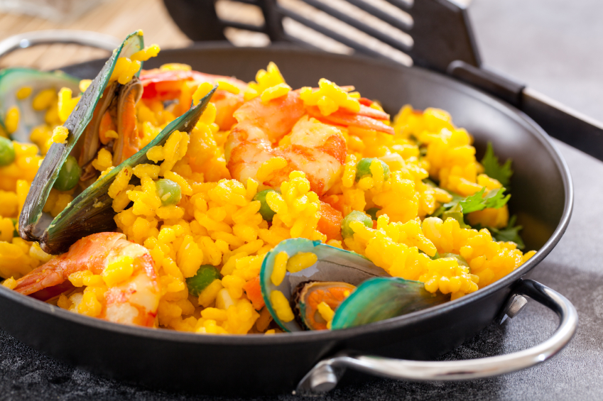 close-up of a pan filled with seafood paella