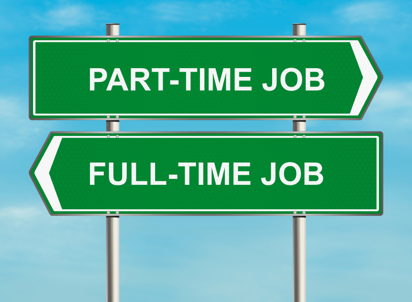 two signs saying Part-Time Job and Full-Time Job