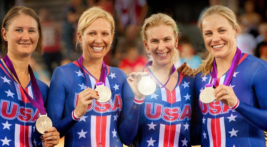 The U.S. women's track cycling team in London in 2012 posing with their medals in Personal Gold: An Underdog Story